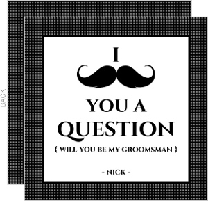 Checked Black and White Will You Be My Groomsman Card