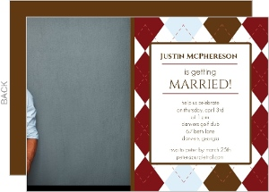 Masculine Pattern Photo Bachelor Party Invite