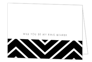 Stripes Black and White Will You Be My Ring Bearer Card