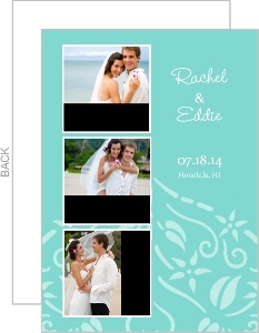 Blue and White Floral Accent Wedding Favor Magnet
