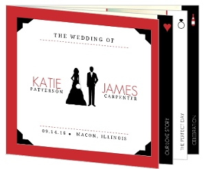 Red Infographic Icons Wedding Invitation