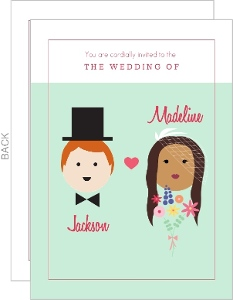 Mint Whimsical Faces Wedding Invitation