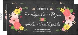 Botanical Chalkboard Flowers Wedding Invitation