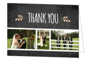 Botanical Chalkboard Flowers Thank You Card