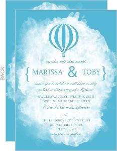 Blue Watercolor Hot Air Balloon Wedding Invitation