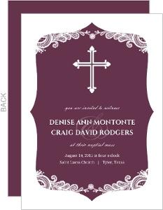 Religious Cross Purple Lace Wedding Invitation