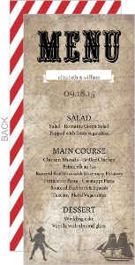 Red Stripe Rustic Pirate Wedding Menu Card