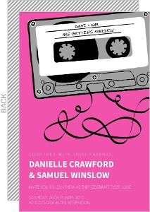 Retro Pink Mixed Tape Wedding Invitation