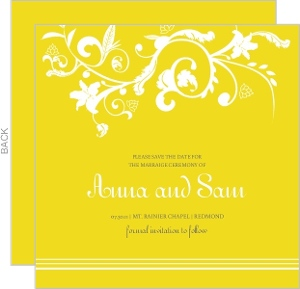 Bright Yellow and White Save the Date Announcement