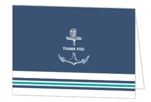 Blue Nautical Anchor Thank You Card