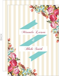 Pink Romantic Flowers Wedding Invitation