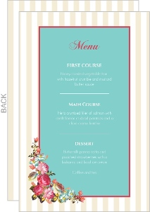 Pink Romantic Flowers Wedding Menu Card