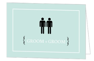 Modern Light Blue Groom Icons Gay Wedding Invitation