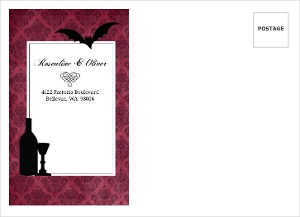 Purple Gothic Damask Halloween Custom Envelope