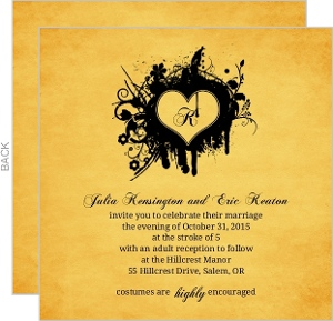 Rustic Yellow Grunge Monogram Heart Halloween Wedding Invitation