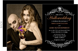 Black Skull Monogram Frame Halloween Wedding Invitation