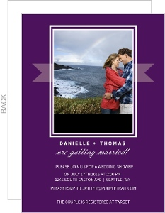 Purple Banner Couples Shower Invitation