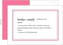 Dictionary Definition Will You Be My Bridesmaid Card