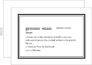 Dictionary Definition Will You Be My Groomsman Card