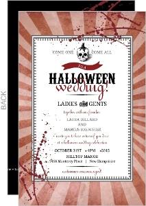 Vintage Red Steampunk Halloween Wedding Invitation