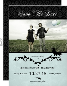 Blue Damask Crow Halloween Save The Date