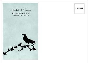 Blue Damask Crow Halloween Custom Envelope