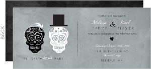 Gray Formal Skulls Wedding Invitation
