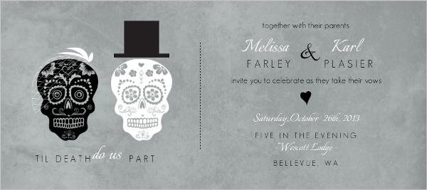 Gray Formal Skulls Wedding Invitation Wedding Invitations