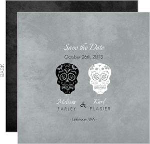 Gray Formal Skulls Halloween Save the Date