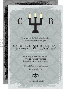Fancy Gray Candles Halloween Wedding Invitation
