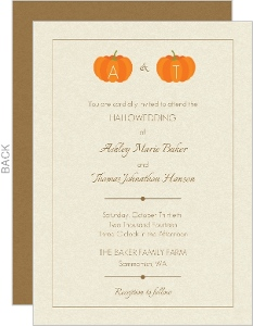 Pumpkin Initials Tan Halloween Wedding Invitation