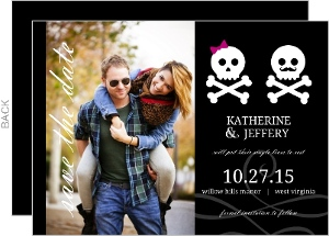 Black Mustache Bow Skulls Save The Date Announcement