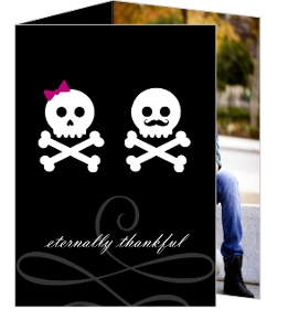 Black Mustache Bow Skulls Halloween Thank You Card