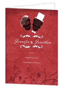 Dia de los Muertos Bride Groom Red Halloween Wedding Program
