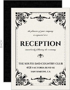 Classic Ecru and Black Flourishes Halloween Reception Card