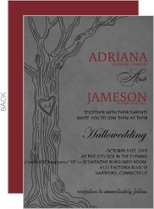 Modern Gray Love Tree Halloween Wedding Invitation