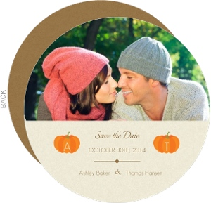 Pumpkin Initials Tan Halloween Save the Date