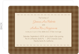 Brown Plaid Rustic Wedding Invite