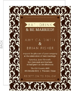 Brown and Cream Country Damask Wedding Invitation