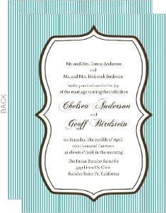 Blue and Brown Stripes Wedding Invitation