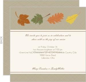Fall Grunge Leaves Gay Wedding Invite