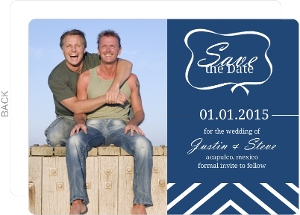 Navy Blue Nautical Stripe Gay Save the Date