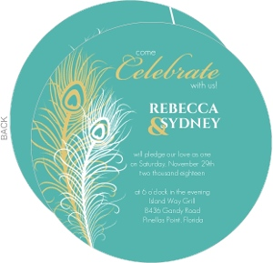 Circle Peacock Silhouette Gay Wedding Invitation