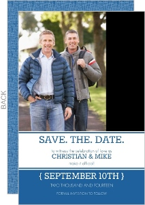 Modern Blue Gay Marriage Save The Date