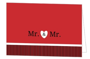 Mr. and Mr. Modern Gay Marriage Wedding Invitation