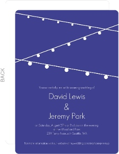 Simple Blue with Hanging Party Lights Gay Wedding Invitation