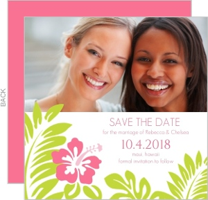 Tropical Palm Leaves and Hibiscus Gay Save the Date
