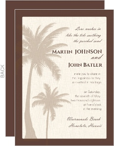 Textured Tropical Palm Tree Gay Wedding Invite