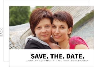 Black and White Gay Marriage Save The Date