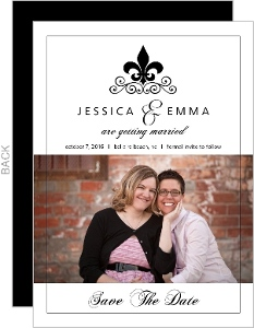 Black and White Fleur De Lis Gay Save The Date Announcement
